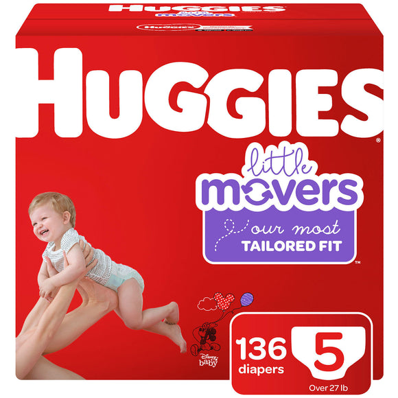 Huggies Little Movers Diapers, Size 5 -136 ct. (Over 27 lbs.)