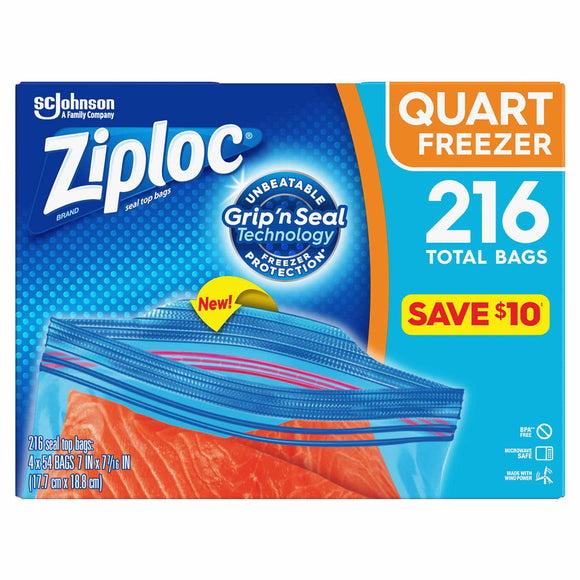 Ziploc Easy Open Tabs Freezer Quart Bags (216 ct.)