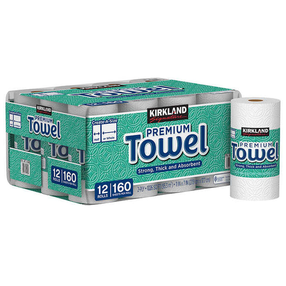Kirkland Signature Create-a-Size Paper Towels, 2-Ply, 160 Sheets, 12-count