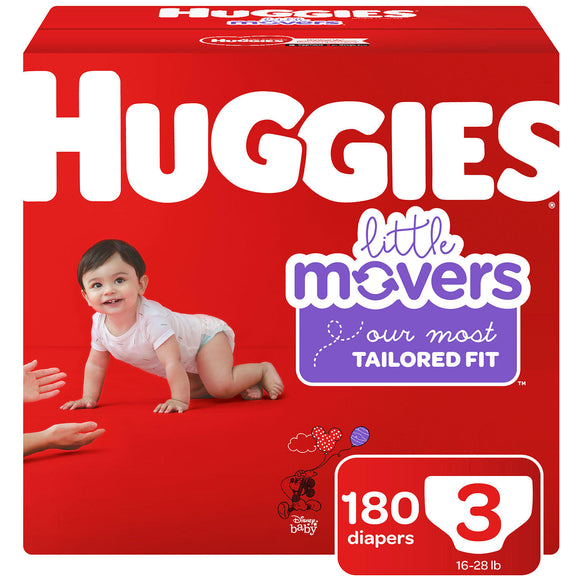 Huggies Little Movers Diapers, Size 3 -180 ct. (16-28 lbs.)