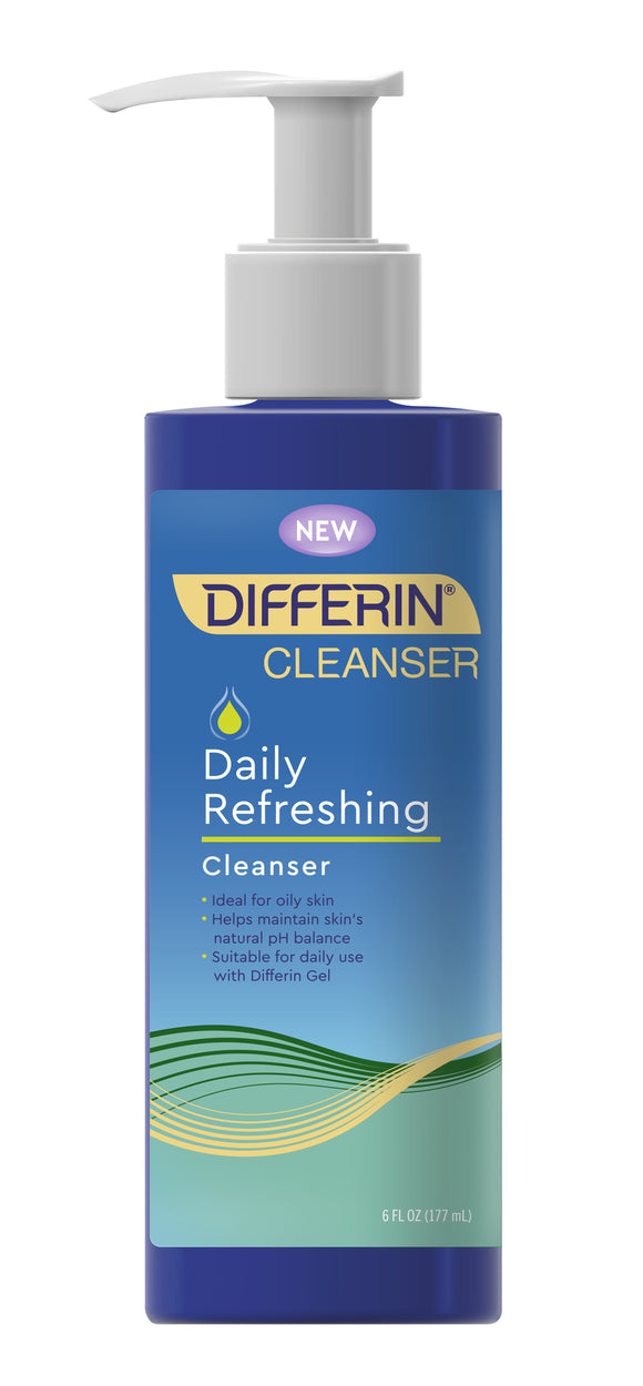 Differin Daily Refreshing Cleanser, All Skin Types, Suitable for Oily Skin, Fragrance-Free, 6 fl oz