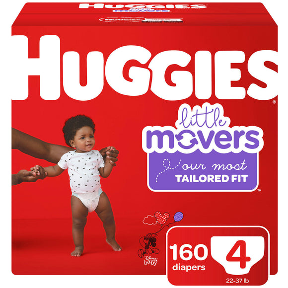 Huggies Little Movers Diapers, Size 4 -160 ct. (22-37 lb.)