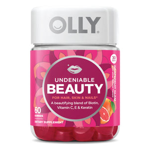 OLLY Undeniable Beauty Gummies for Hair, Skin & Nails, Grapefruit Glam, 60 Ct