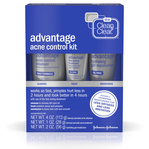 Clean & Clear Advantage Acne Control Kit with Benzoyl Peroxide, 3 pc