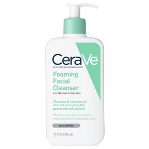 CeraVe Foaming Face Cleanser, Face Wash for Normal to Oily Skin, 12 oz.(355ml)