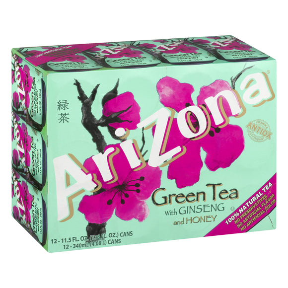 Arizona Green Tea with Ginseng and Honey, 11.5 fl oz (12 cans)
