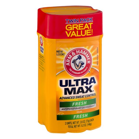 Arm & Hammer Ultra Max Fresh Solid Antiperspirant Deodorant, 2.6 Oz, Twin Pack