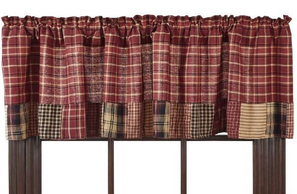 "Cabin Decor Valance 72x16"" Lined Country Patchwork Matches Quilt Collection"
