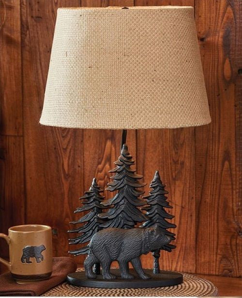 Black Bear Cabin Decor Table Lamp
