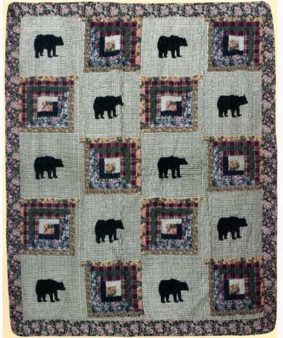 Black Bear Log Cabin Quilt Throw Blanket Floral Check Plaid Rustic Lodge Style