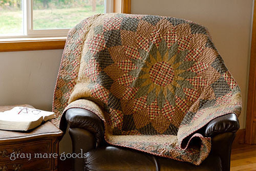 Tea Stained Dahlia Throw