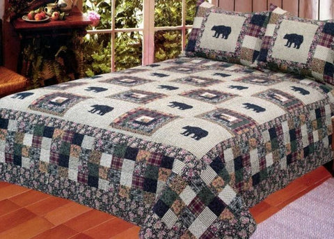 Black Bear Log Cabin Quilt King Sets Floral Check Plaid Rustic Lodge Bed in Bag