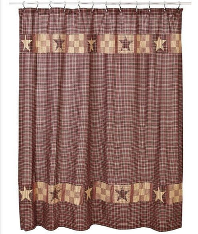 Country Farmhouse Shower Curtain Quilted Authentic Patchwork Bradford Star