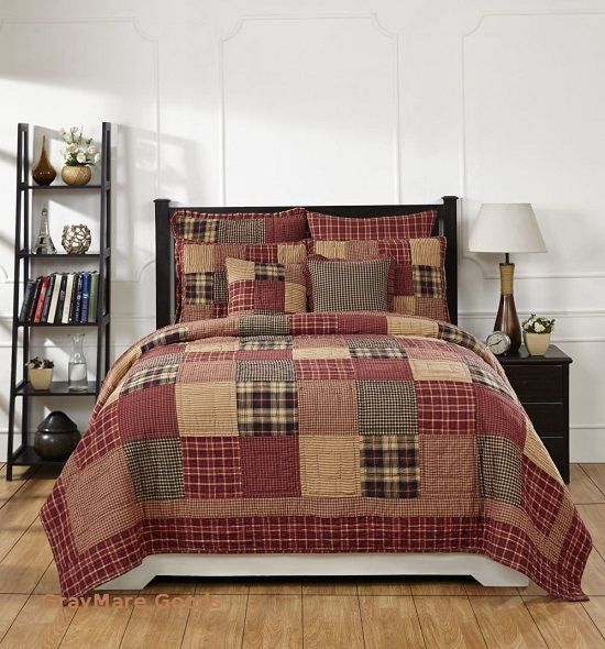 Cabin Decor Queen Quilt 7PC Set Authentic Country Patchwork Quilt And Bedspreads