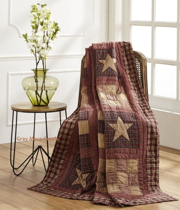 Country Farmhouse Throw Blanket Quilt Hand Stitch Star Patchwork 55x70 Bradford