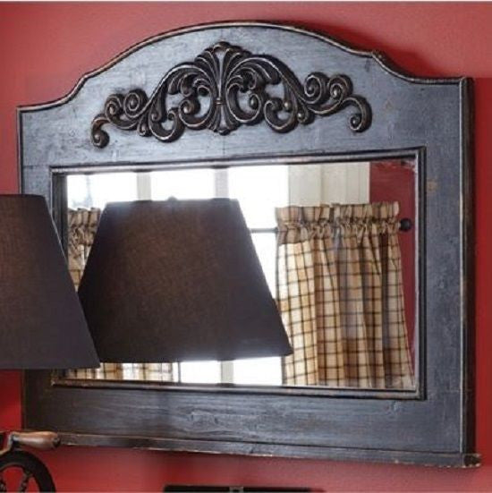 Black Fireplace Mantel Decor Mirror For Wall Shabby Aged Antique Scrollwork