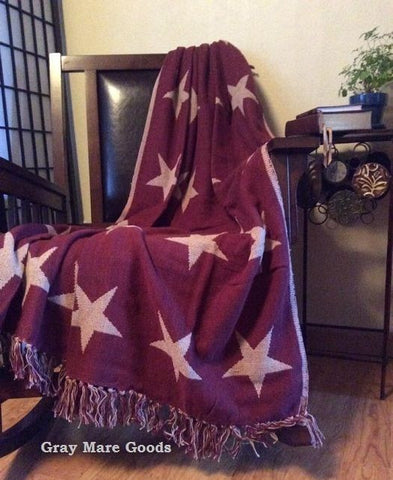 Burgundy Texas Star Throw Blanket Woven Tan Reversible Country Farmhouse Throws