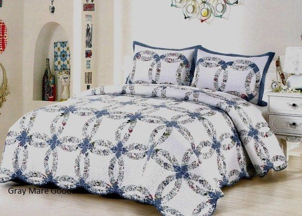 Blue Wedding Ring Quilt Queen King Romantic Cottage Vintage Shabby Bed in Bag