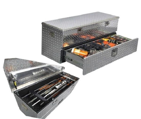 Truck Bed Tool Box Gun Storage Metal Diamond Plate Trap Shooting Field Armory