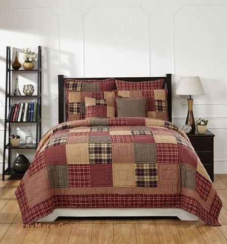 Cabin Decor Queen Quilt 5PC Set Authentic Country Patchwork Quilt And Bedspreads