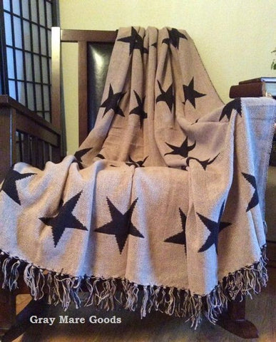 Texas Star Throw Blanket Woven Black Tan Reversible Country Farmhouse Throws