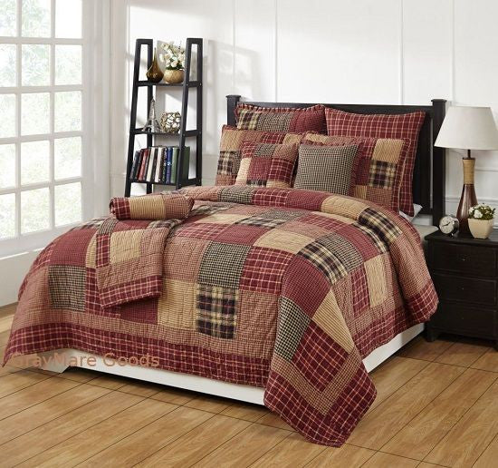 Cabin Decor King Quilt 7PC Set w/Shams Authentic Patchwork Quilts And Bedspreads