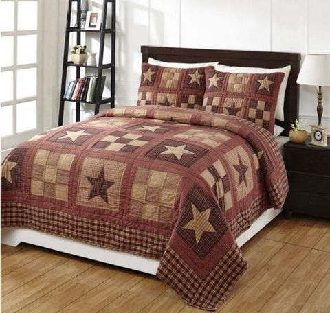 Country Farmhouse Quilts 3PC Queen Set Authentic Patchwork Bradford Star Quilt