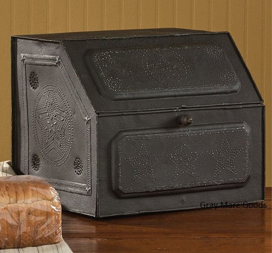 Punched Tin Bread Box Black Star Kitchen Organizer Antique Reproduction Vintage