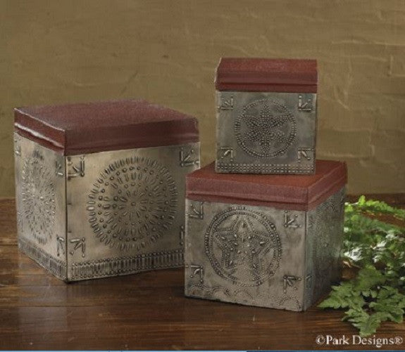 Vintage Punched Tin Boxes Set of 3 Antique Inspired Country Farmhouse Decor Tins