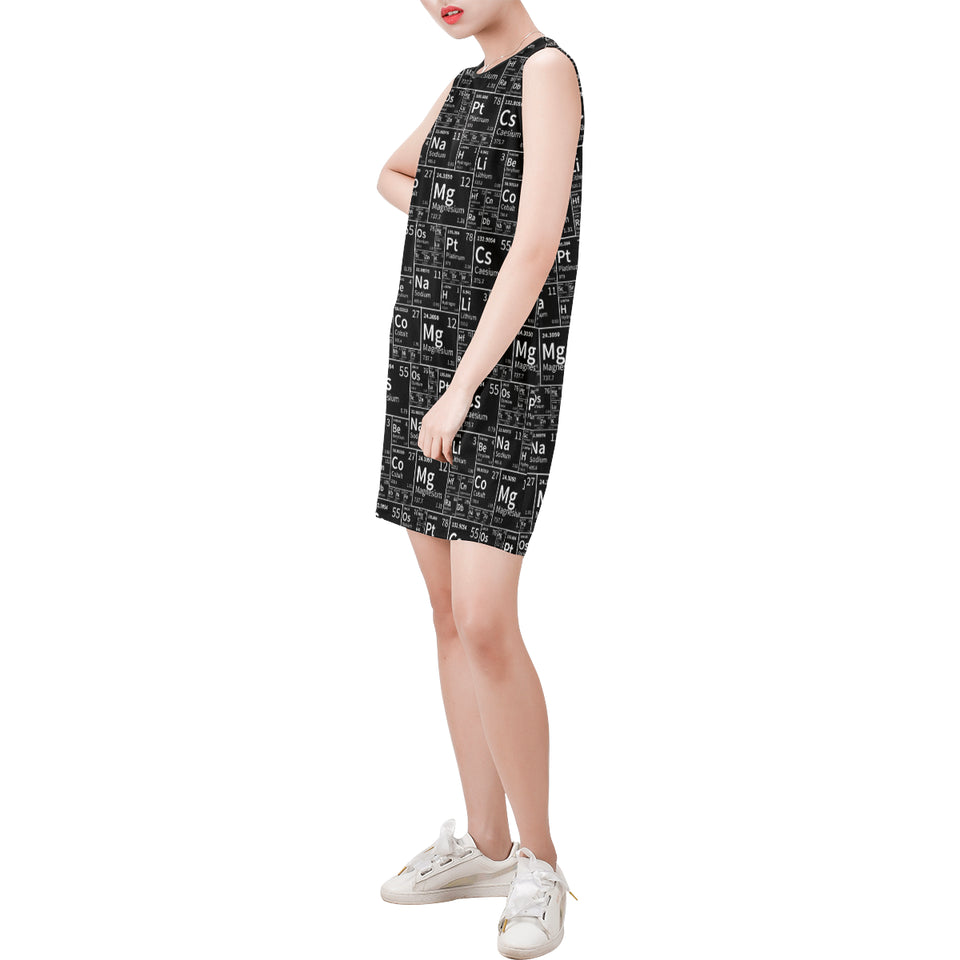 Periodic Black Sleeveless Round Neck Shift Dress