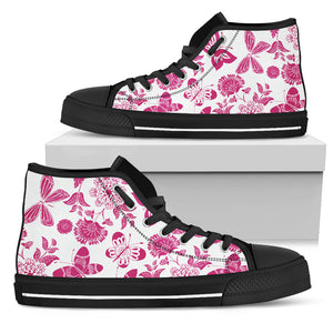 Pink Floral Butterfly High Top Shoes