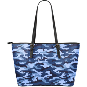 Camouflage Blue Camo Urban Large Leather Tote