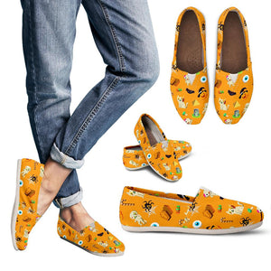 Orange Halloween Pattern Women's Casual Shoes