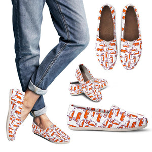 White Cute Corgi Pattern Women's Casual Shoes