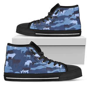 Cow Camouflage Blue High Top Shoes