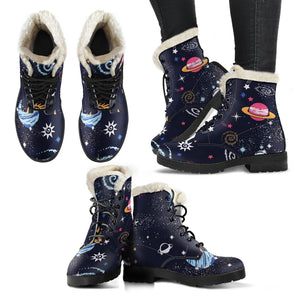 Space Galaxy Constellation Faux Fur Leather Boots