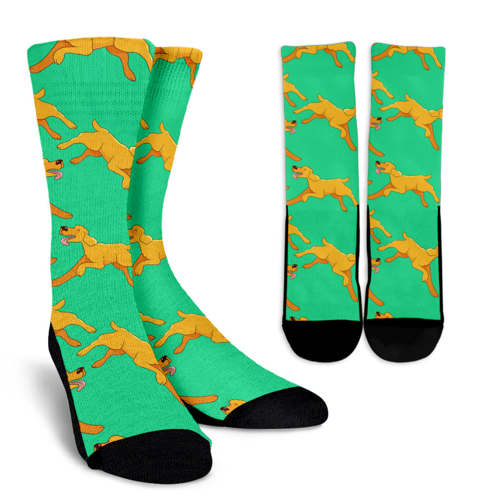 Green Running Golden Retriever Crew Socks