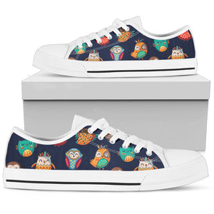 Tribal Owls Color Low Top Shoes