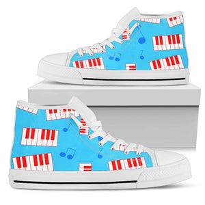 Piano Keys With Notes High Top Shoes