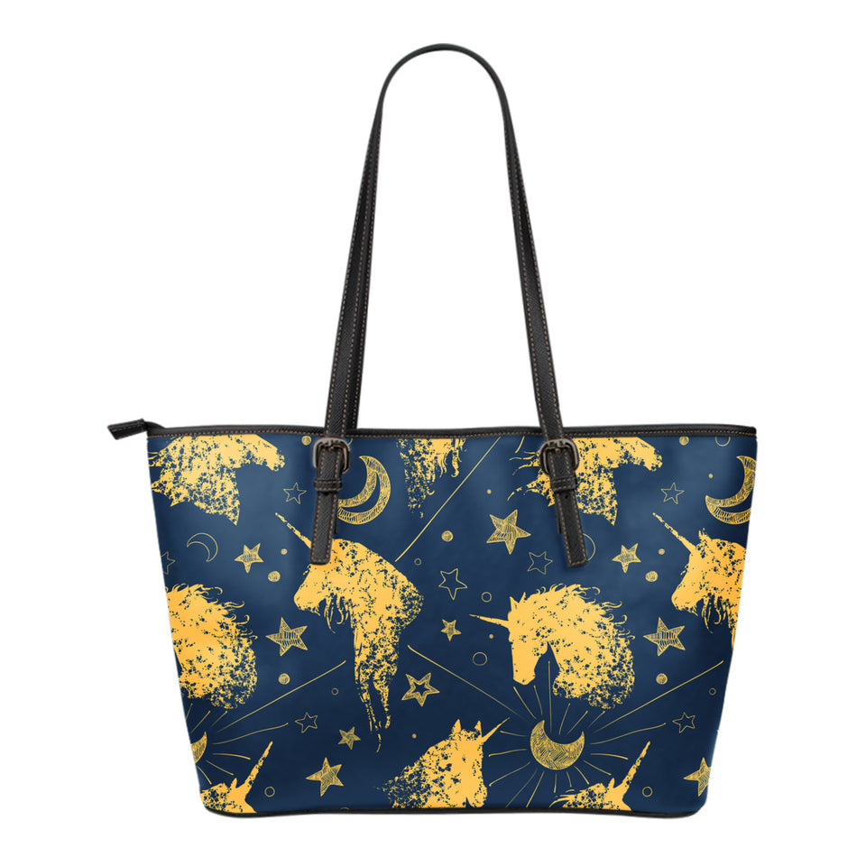 Luxury Unicorns Stars Small Leather Tote