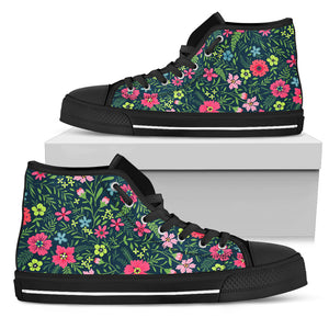 Flowers Pattern High Top Shoes