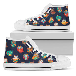 Tribal Owls Color High Top Shoes