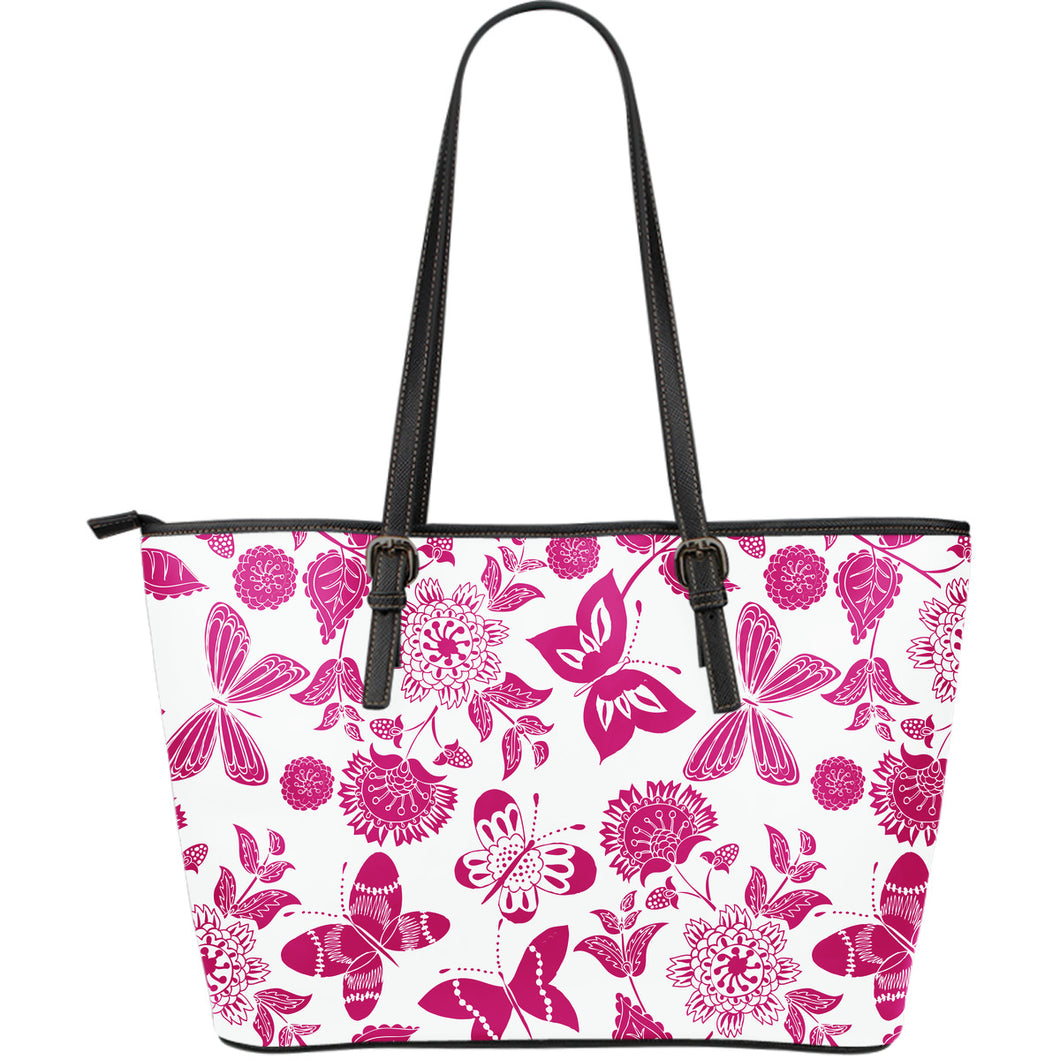 Pink Floral Butterfly Large Leather Tote