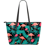 Tropical Leaves Flamingos Large Leather Tote