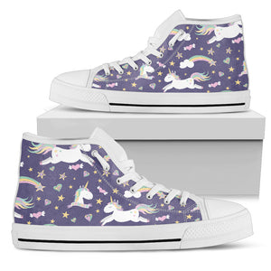 Purple Magical Unicorns High Top Shoes