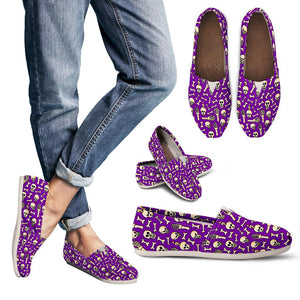 Purple Halloween Skull Skeleton Women's Casual Shoes