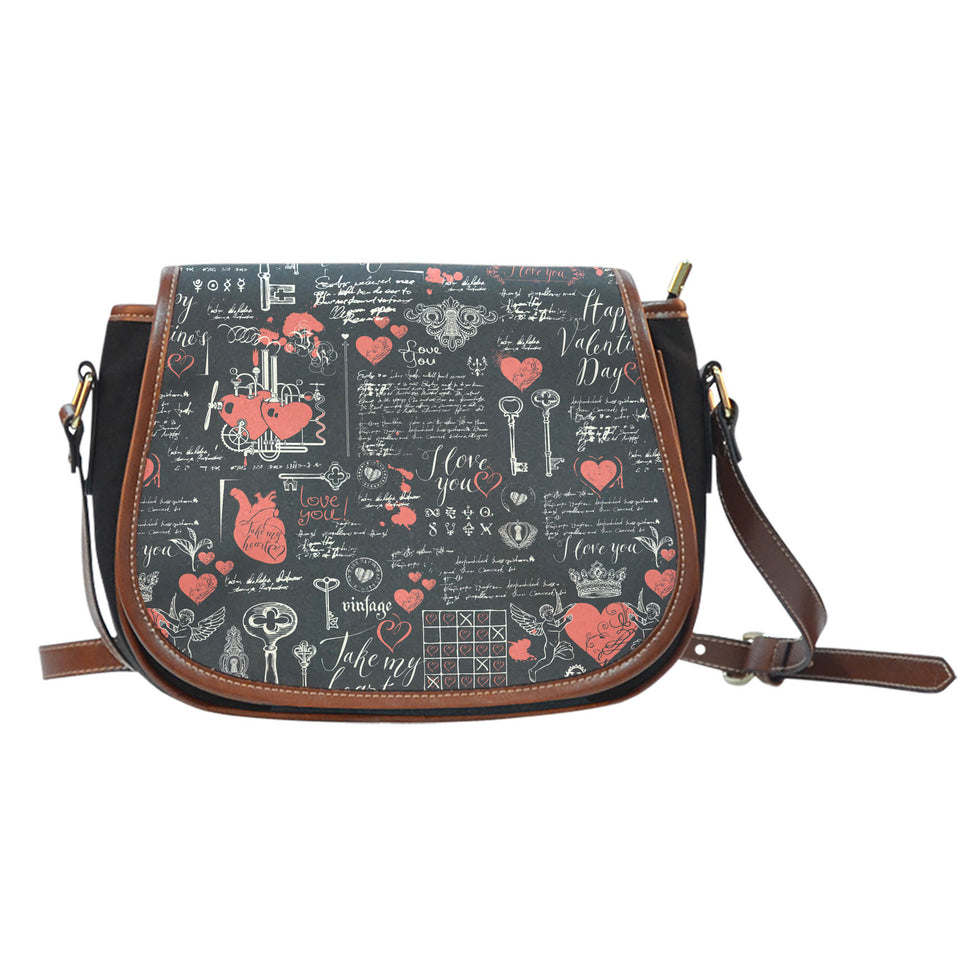Black Valentine's Day Canvas Leather Saddle Bag