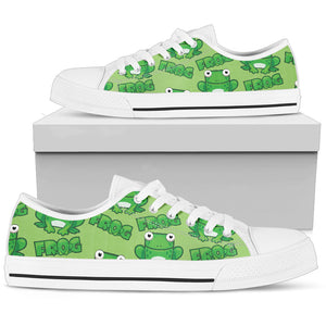 Square Green Frog Low Top Shoes