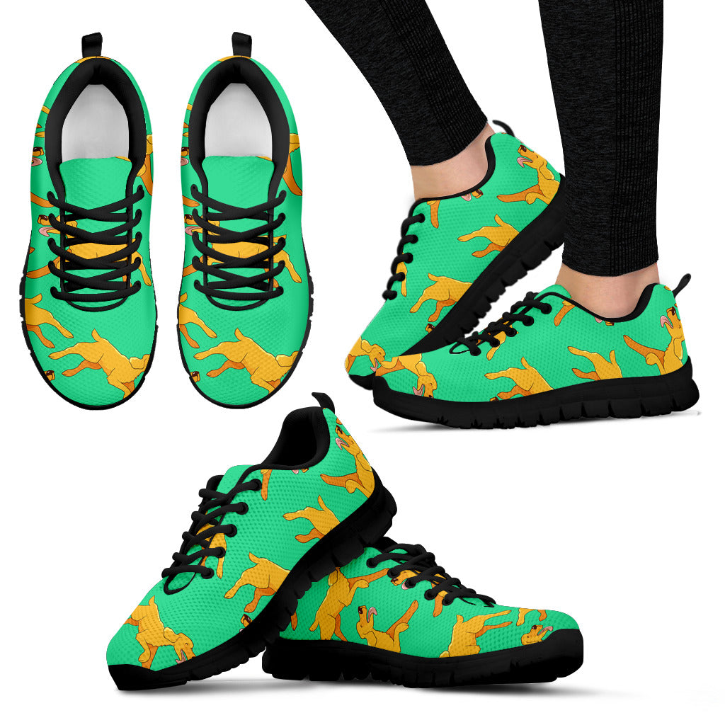 Green Running Golden Retriever Sneakers Shoes
