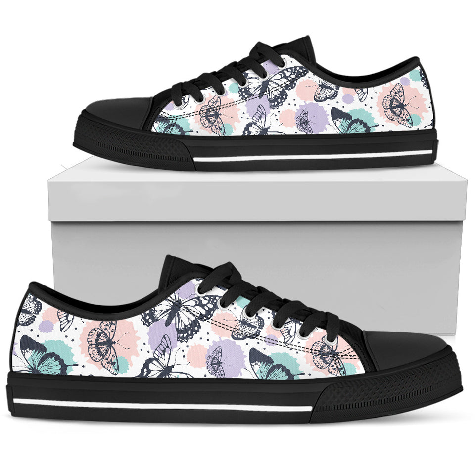 Butterfly Vintage Color Low Top Shoes